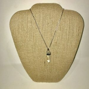 Clear crystal natural stone pendant necklace